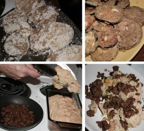 fried eggplant, cornbread and chorizo seitan